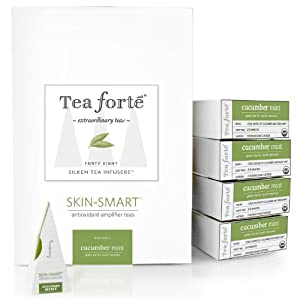 Tea Forte Event Box 48 Silken Pyramid Infusers Skin Smart Cucumber Mint by Tea Forte