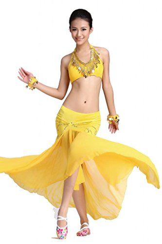 ZLTdream Women's Belly Dance Costume Bandage Peacock Bra Top and Fishtail Skirt