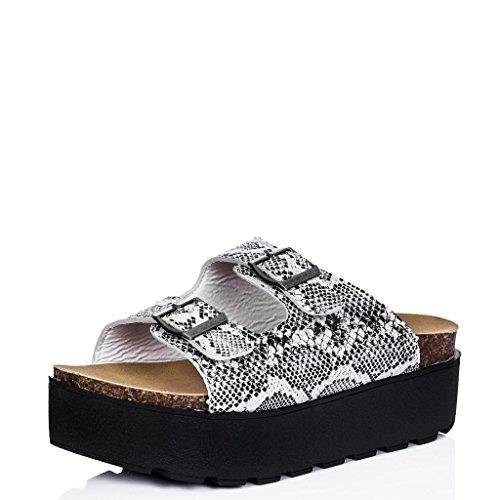 Zapatos Sandalias con Plataforma Peep Toe Beis Cuero Sintético EU 37