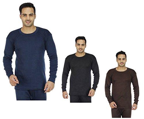 Alfa-Oswal-Mens-Cotton-Blend-Thermal-Top-Pack-of-3Navy-Brown-Black-1-Pair-Socks-Free