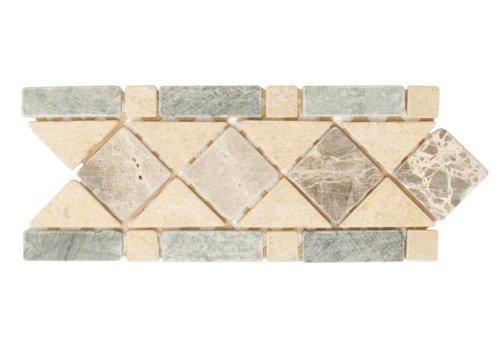 Travertine Stone Border : Empradro dark yellow travertine green stone mosaic art