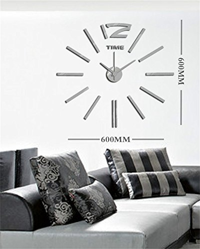 Yanqiao Modern 3D Frameless Wall Clock Style Watches Wall Sticker DIY Room Home Decorations,Silver (Cool Wall Ideas compare prices)