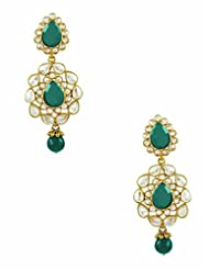 The Art Jewellery Brass Dangle & Drop Earrings For Women (Green)