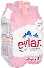 Evian Agua Mineral Sin Gas Natural, (4X1L) (Paquete de 2)