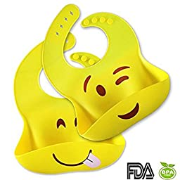 Silicone Bib - A Set Of 2 Yellow Emoji Printed Bibs With A Food Crumb Pocket Catcher - Soft Comfortable And Flexible ! Waterproof Easily Wiped Clean And Fast Drying ! Fits Babies And Toddlers