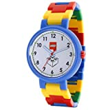 LEGO Midsize 340806 Classic White Dial 4 Stud Brick Above 6 Blue Watch