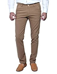 Routeen Men's Fabos Brown Slim Fit Cotton Casual Trouser