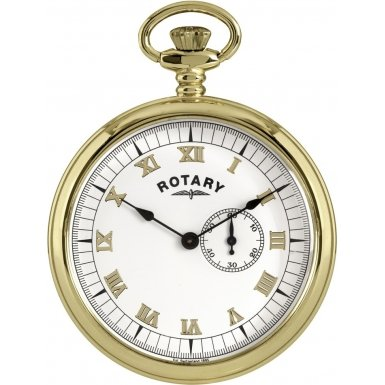 Rotary Gents Gold Tone Pocket Watch White Dial Gold MP00731-01
