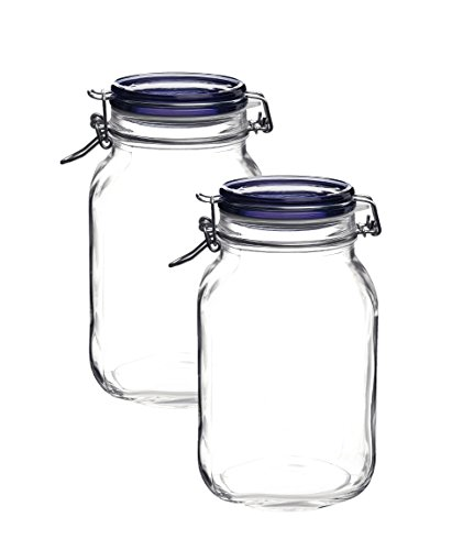 Bormioli Rocco Fido Square Jar with Blue Lid, 67-3/4-Ounce (2)