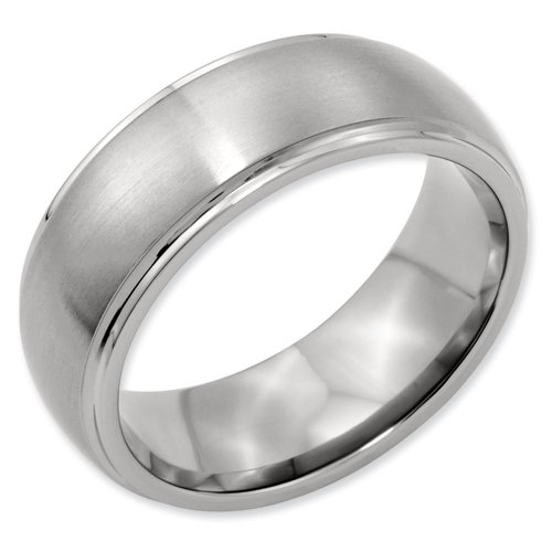 Titanium Ridged Edge 8mm Brushed and Polished Band Ring Size 16.5 Real Goldia Designer Perfect Jewelry Gift for Christmas
