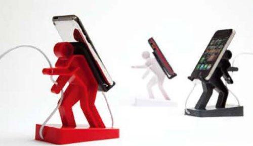 ・【レッド】携帯・スマホの充電はオレに任せろ 頑張るボリス!ボリス スマートフォンスタンド 背中に携帯電話を担いで、コードもキャッチ!!イン...