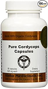 Pure Cordyceps Capsules 525 mg by Aloha Medicinals