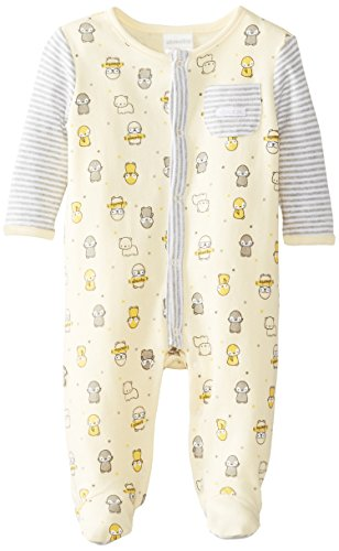 Absorba Unisex-Baby Newborn Uni Penguin Parade Footie, Yellow/Print, 0-3 Months front-810521