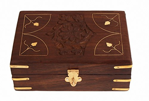 Mothers Day Gift Regal Hand Carved Rosewood Trinket Storage Box Jewelry Organizer with Intricate Carvings, 6 x 4 inches