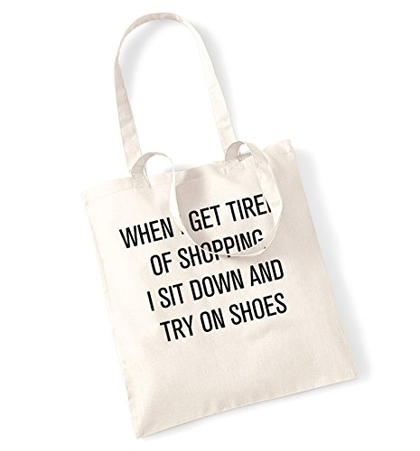 When I get tired of shopping I sit down and try on shoes tote bag