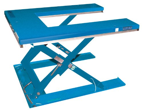 "Vestil Ehu-3 Low Profile ""U"" Type Electric Lift Table, 115 Volt, 3000 Lbs Capacity, 63"" Length X 53-1/2"" Width Platform, 4-1/4"" - 33-1/2"" Height"