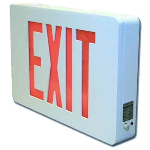 Sure-Lites CX71WHSD LED Die Cast Exit Sign, White Face and Housing, Single Face, Red and Green Letters, Self-Powered, Self-Diagnostics