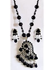 Black Stone Bead And Stone Studded Necklace With Earrings - Stone, Bead And Metal