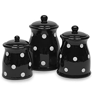 Terramoto Ceramic Polka Dots Canister Set, Black, 3-Piece