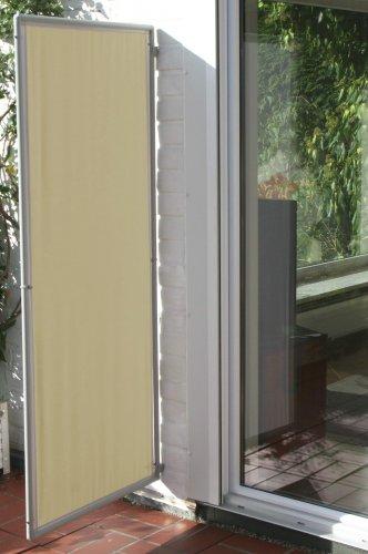 In- und Outdoor Paravent Flexi 1, flexibler Sichtschutz in verschiedenen Farben, Farbe Bespannung:Elfenbein