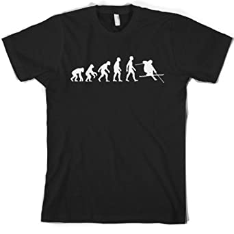 Evolution of Man - Men's Skiing T shirt - Dressdown Small Black