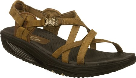Skechers Women's Shape Ups Point Five Jamaica Fab Abs Ankle Straps,Brown,6.5 M US