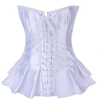 Autek Femmes sexy Overbust de corset de satin, corset Lingerie Serre-taille #2929 (S, blanc)