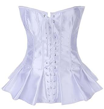 Autek Femmes sexy Overbust de corset de satin, corset Lingerie Serre-taille #2929 (XL, blanc)