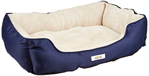 ASPCA-Microtech-Striped-Dog-Bed-Cuddler-28-by-20-by-8-Inch