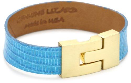Leighelena Lizard Electric BlueThin Buckle Bracelet