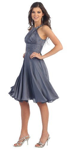 Prom Halter New Elegant Short Dress #959 (8, Charcoal)