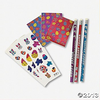 12 Easter Prism Stationery Sets/Easter stckers/Easter pencils/Easter notepads/Teacher resources/Student incentives - 1