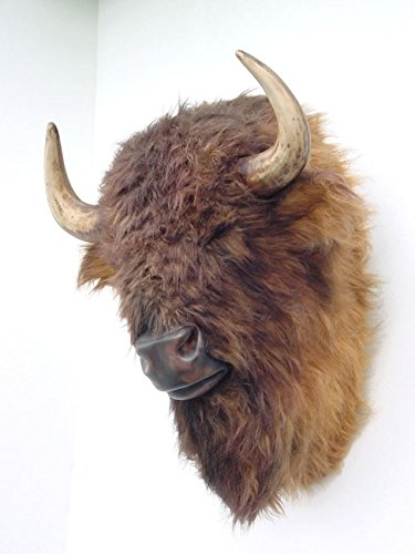 Buffalo Bison Head Wall Mount with Faux Fur (Bison Head compare prices)
