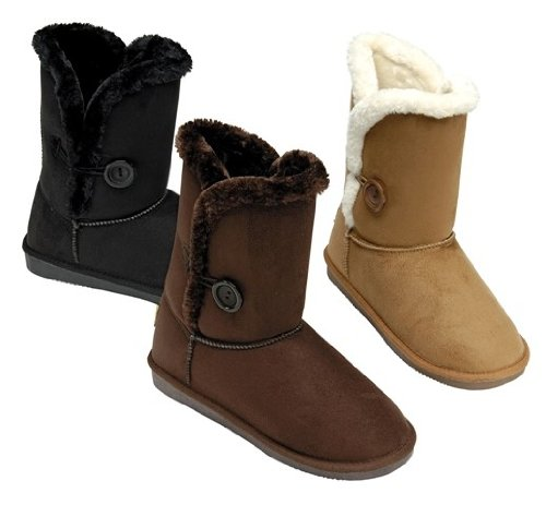 New Girls Infant Baby Brown Beige Black Winter Ankle Boots Faux Fur Warm Lined s