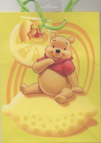 Disney: Winnie the Pooh, Princess, Mickey Mouse 1 x Geschenkbeutel Geschenktüten Geschenktasche 18x23cm M, mit Anhänger und Kordel Winnie Puuh (gelb - Zitrone Winnie)