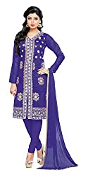 Women Icon Presents Embroidered Chanderi Dress Material(Blue)