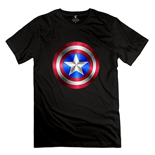 Man Captain America Logo Design Cool Black Tee By Mjensen
