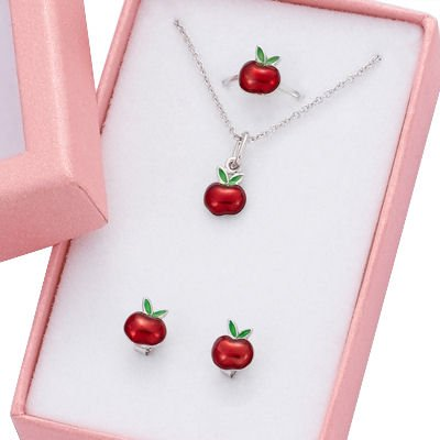 Children's Jewellery Set: Adjustable ring + Earrings + Necklace Apple - Sterling Silver & Red Enamel
