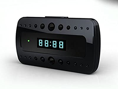 Eltro 1080P Mini Desk Alarm Clock Spy Camera with Night Vision(Black)