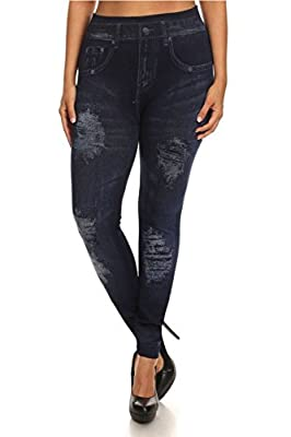 ShoSho Women's Plus Size Distressed Printed Jeggings