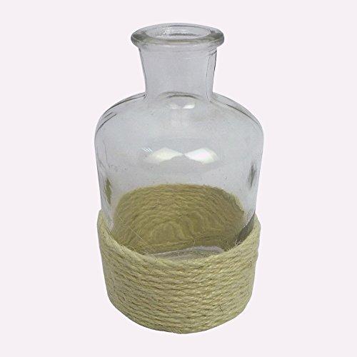 """Glas Vase """"SPRAY"""". Kleine Flasche mit Rope / Kordel. Ca. 6,5 x 13 cm. In WEISS -40"""
