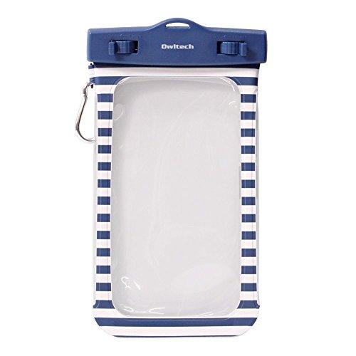オウルテック 防水・防塵ケース もしもの時でも安心メーカー保証 iPhone 6s / 6sPlus等対応 最高級保護レベルIP68取得 フロート ネックストラップ カラビナ付 ボーダー柄 ネイビー OWL-WPCSP01BO-NV