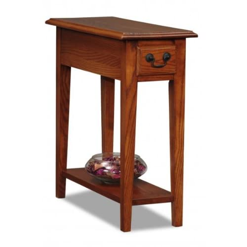 Narrow end table medium brown 2 39 h x 10 w x for Tall slim side table
