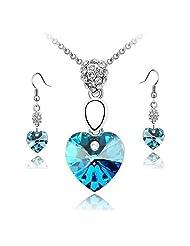 Cilver Fashion Valentines Special Austrian Crystal Blue Love Heart Pendant Set