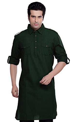 Indian Clothing Men's Kurta Tunic Point Collar Shoulder Detail Shirt