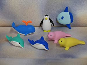 30pcs Animal Shape Rubber Erasers Simulation Toy Set for ... |Sea Creature Erasers Toys