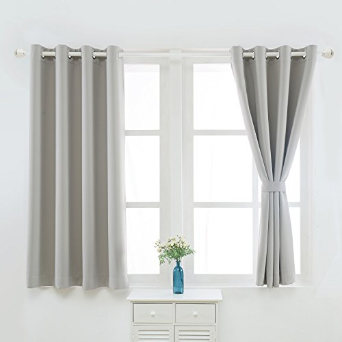 YOJA Home Thermal Insulated Grommet Top Blackout Curtains Drapes,Grey,52