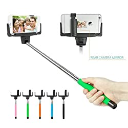 BUTEFO - Take Photo and Video Selfie Stick - Extendable Self-portrait Wireless Bluetooth Monopod Pole with Mount Holder for iOS/Android Mobile Phone (Green)