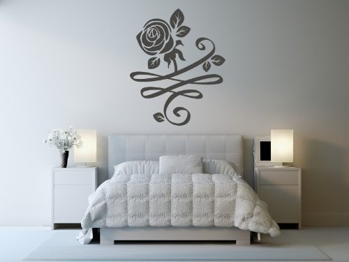Rose Bud con fondo floreale decorazione Wall Sticker casa parete Art Decal, H = 50cm, W = 50cm