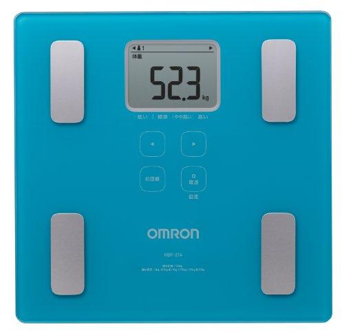 オムロン 【薄型設計】【フラット設計】【大画面表示】体重体組成計 カラダスキャン HBF-214-B ブルー